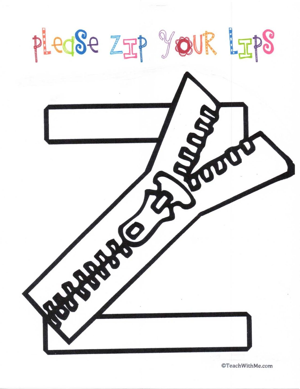 Please Zip Your Lips Anchor Charts Classroom Freebies Alphabet Preschool Letter Z Crafts Alphabet Coloring Pages