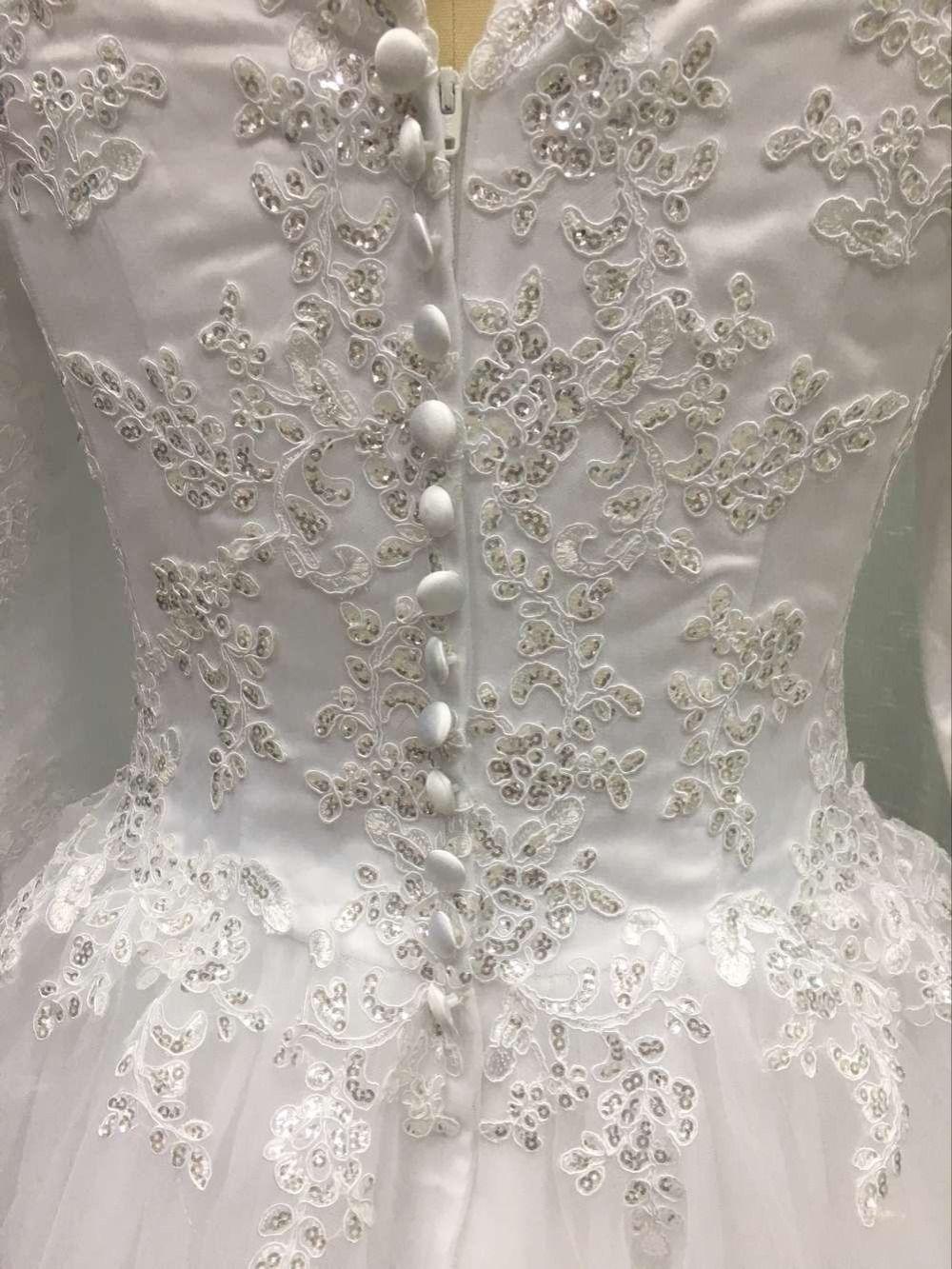 High Quality Long Sleeve Beaded Shinning Muslim Wedding