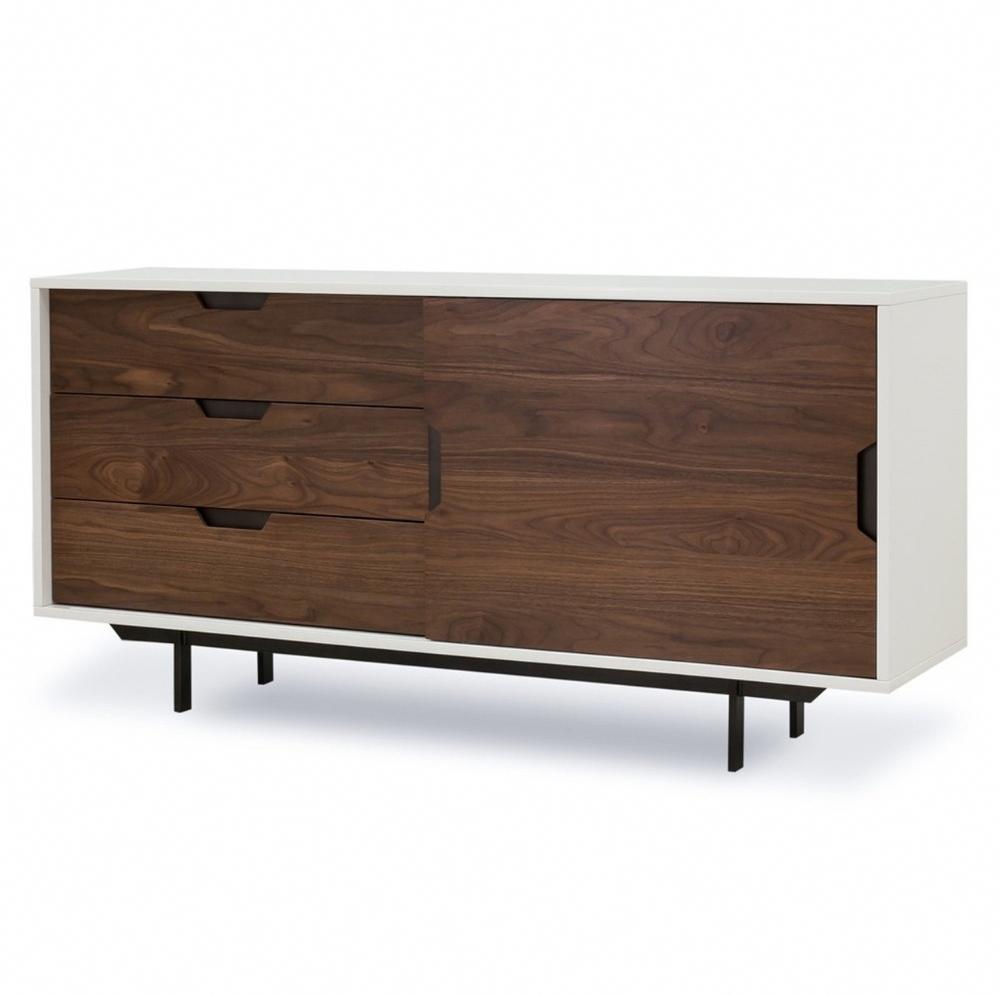 Mid-Century Modern Console Cabinet With Sliding Door - White + Walnut | Zin Home #homedecor