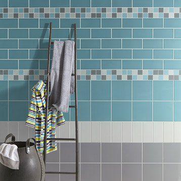 Faïence mur bleu atoll, Astuce l20 x L20 cm salle de bain