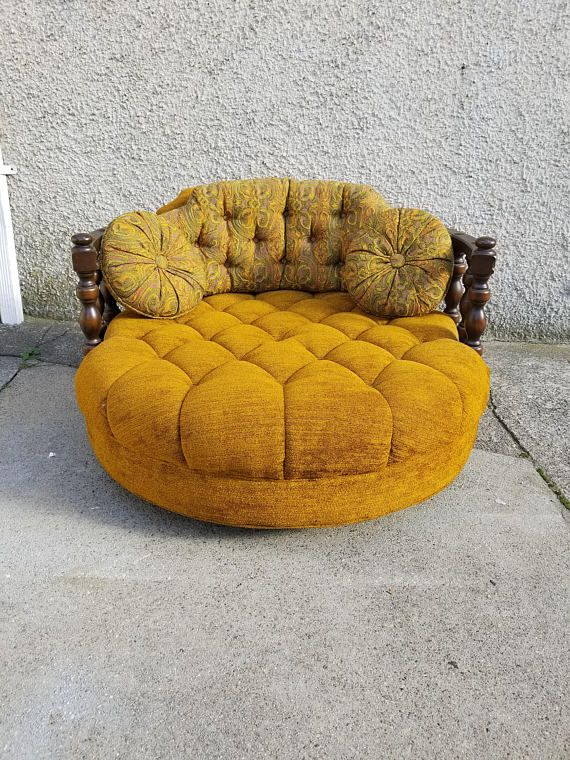 Vintage Mid Century Round Loveseat / Chair   Orange / Yellow Velvet Couch  With Floral Print Pillows   Unique Retro Chaise! BOHO Chic Settee.