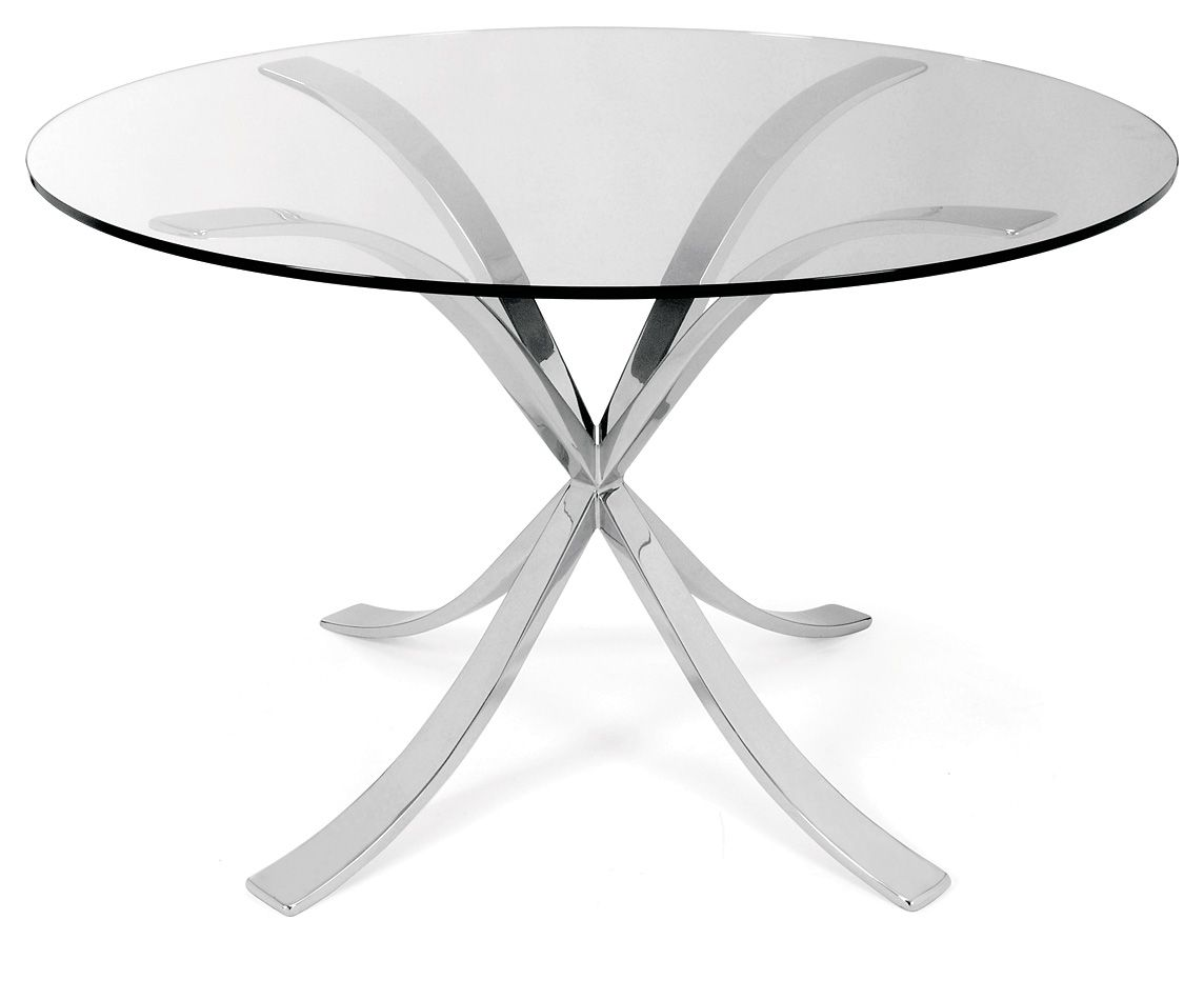 Charmant Sofia Dining Table In Polished Stainless Steel With Glass Top.