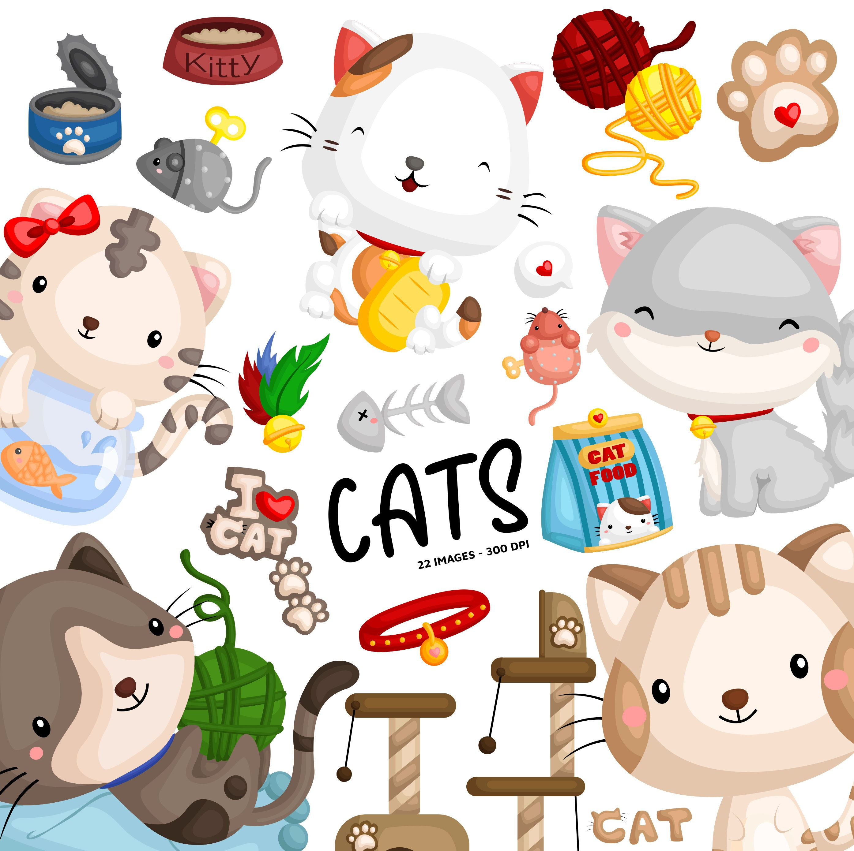 Cute Cats Clipart Feline Animal Clip Art Home Pet Free Etsy In 2021 Animal Clipart Cat Clipart Cute Animal Clipart