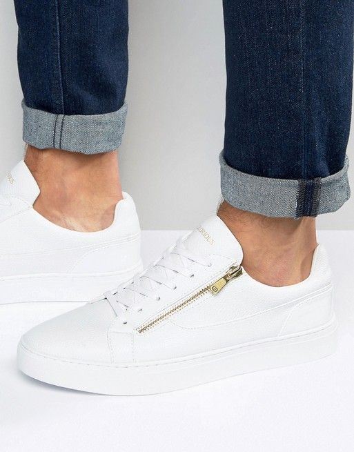 Glorious Gangsta London Zip Detail Sneakers In White