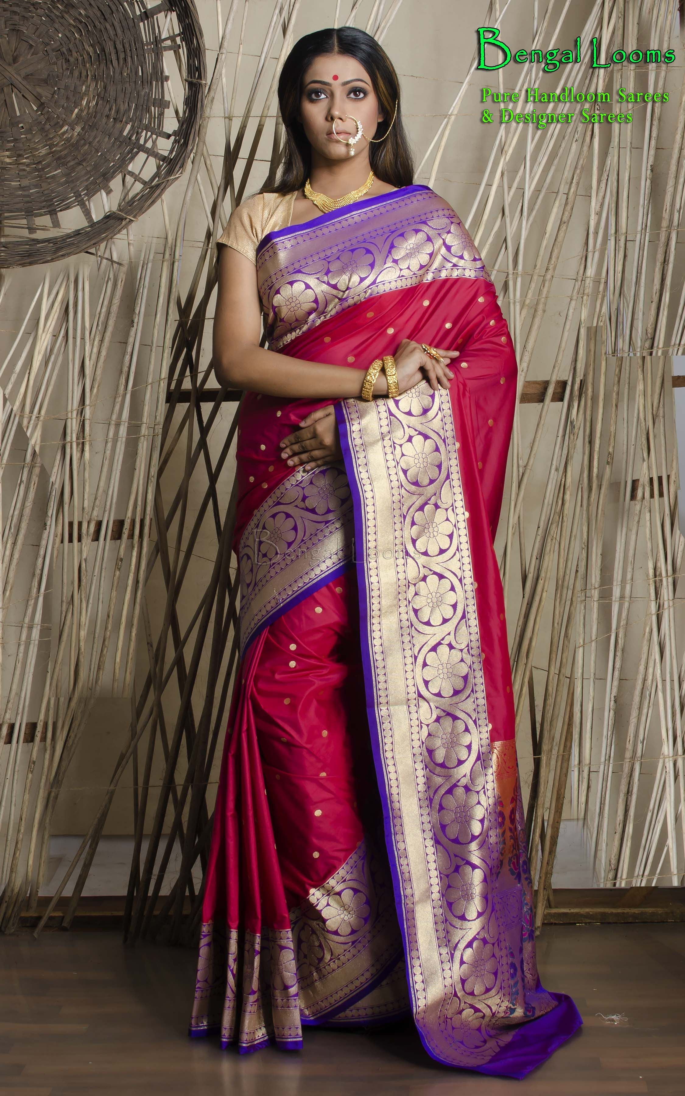 c29b711125af9 Beautiful Rose Red Chanderi Crepe Banarasi Saree Available For Sale From  Bengal Looms .