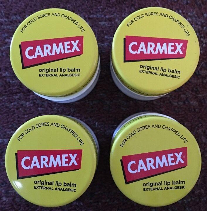 Lot Of 4 Carmex Original Lip Balm For Cold Sores And