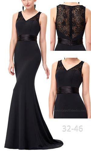 Uzun Siyah Abiye Elbise Dantel Sirt Tasarim Abiye Elbise Uzun Abiyeler Gece Elbisesi Mezuniyet Elbisesi Siyah Abiye Elbise Elbiseler