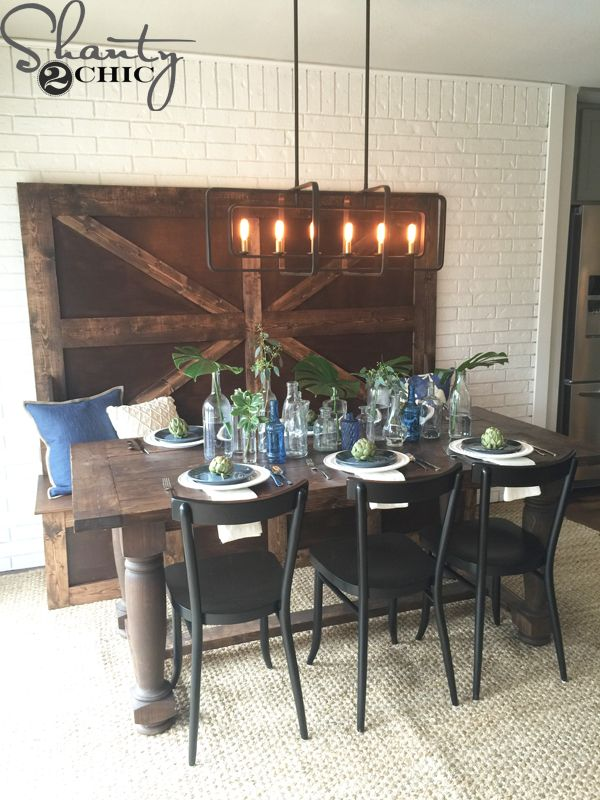 Diy High Back Bench Farmhouse Dining Room Set Diy