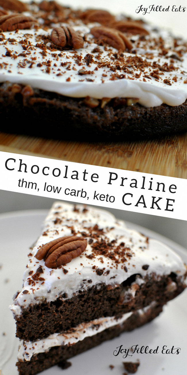 Chocolate Praline Cake - Low Carb, Keto, THM S, Grain-Free, Gluten-Free -  With the rich flavors of chocolate and pecans covered with fresh whipped cream, this Chocolate Praline Cake will be the best dessert to grace your table.