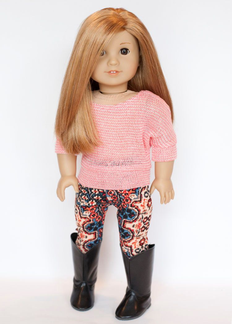 American Girl Doll sized dolman style pullover sweater -coral and white