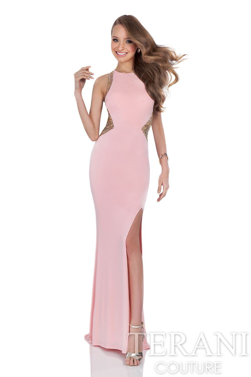 Fitted sheath prom gown with jewel neckline. This prom dress is ...