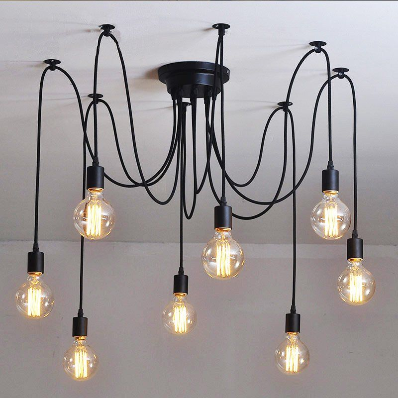 10 Light Cable Chandelier In Black Chandelier Pendant Lights