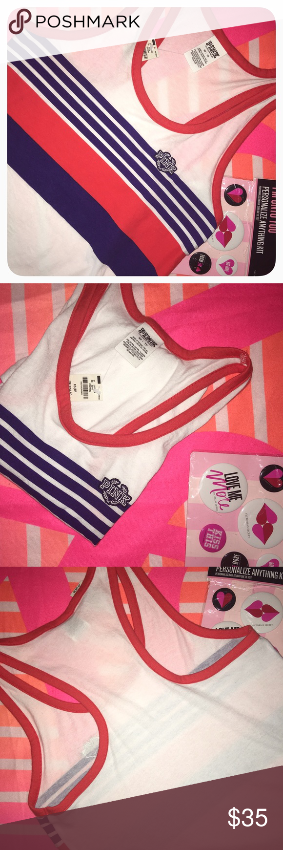 FIRM🎁🆕VS  PINK Red,White&Blue Tank 11/7 GRAB IT DEAL Victoria's Secret PINK Tank Top PINK Victoria's Secret Tops Tank Tops