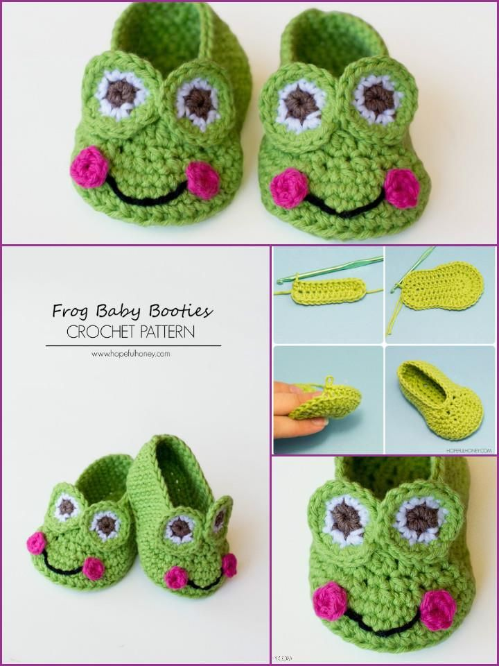 Crochet Baby Booties - Top 40 Free Crochet Patterns | La rana, Ranas ...