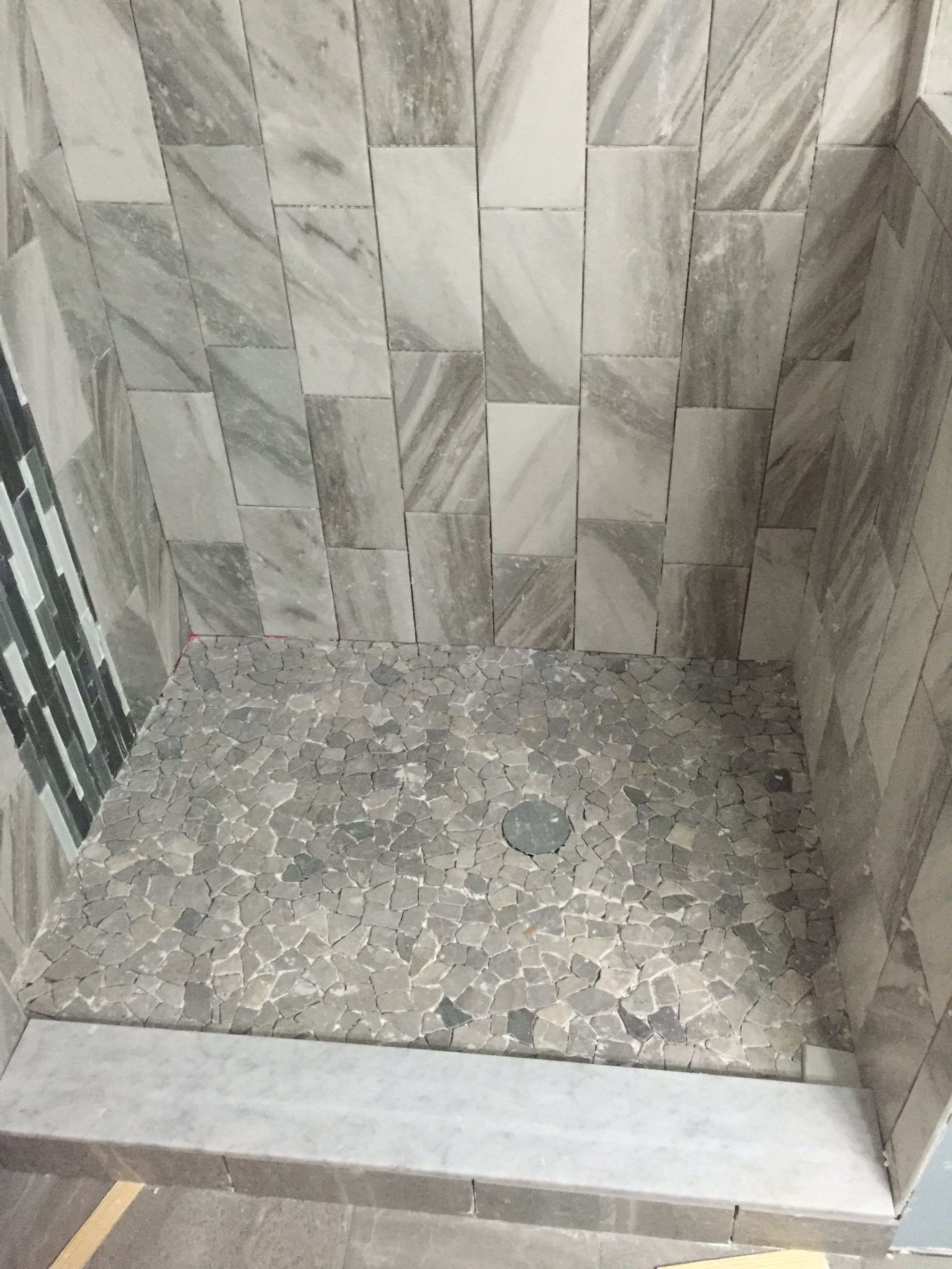 Beautiful Stone Grey Mosaic Pebble Tile Flooring In This Multi