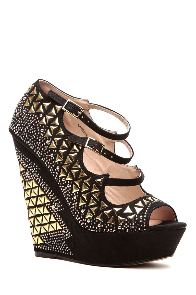 41ac83404f76 Black Faux Suede Studded Peep Toe Platform Wedges   Cicihot Wedges Shoes  Store Wedge Shoes