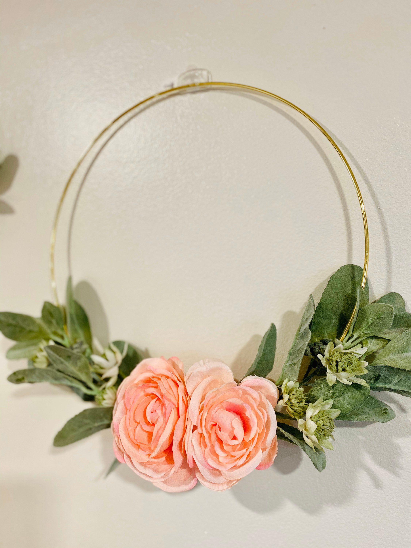 Photo of Lambs Ear Wreath, Hoop Ring Wreath, Pink Rose Hoop Wreath for the Front Door, Hoop Wreath for Nursery, Gold Ring Rose Wreath