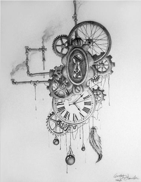 dessin, tatouage, steampunk, montre, engrenages, attrape-rêves