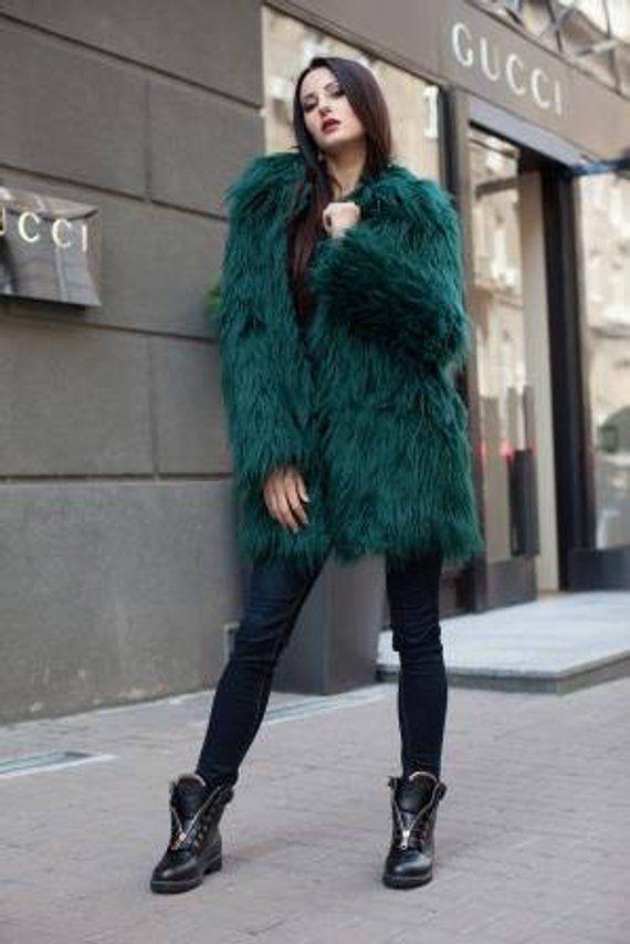 5079a452540 Emerald green faux fur coat