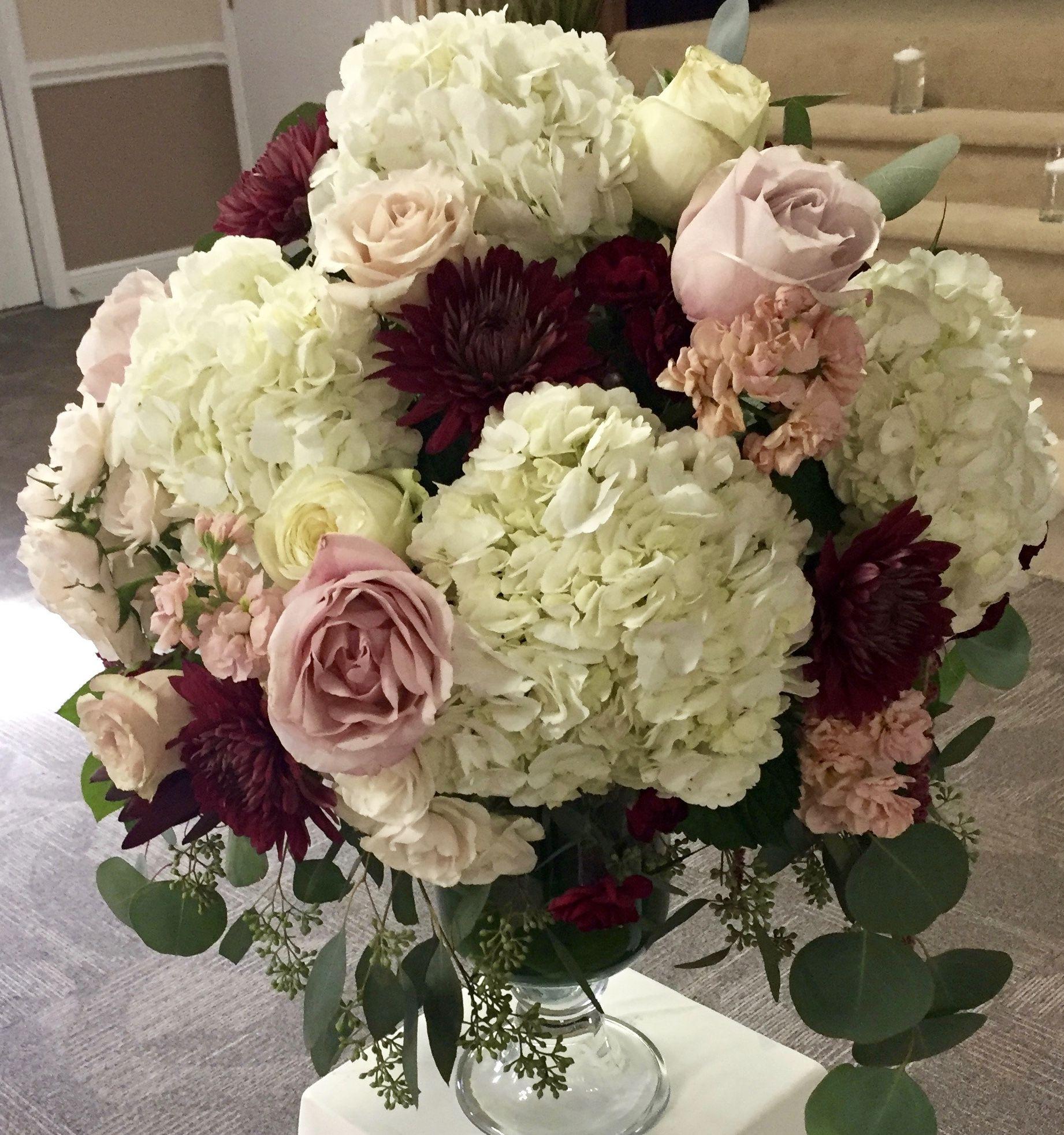 Wedding Altar Flowers With Eucalyptus: White Hydrangea, Burgundy Mums, Pink Stock, Quicksand