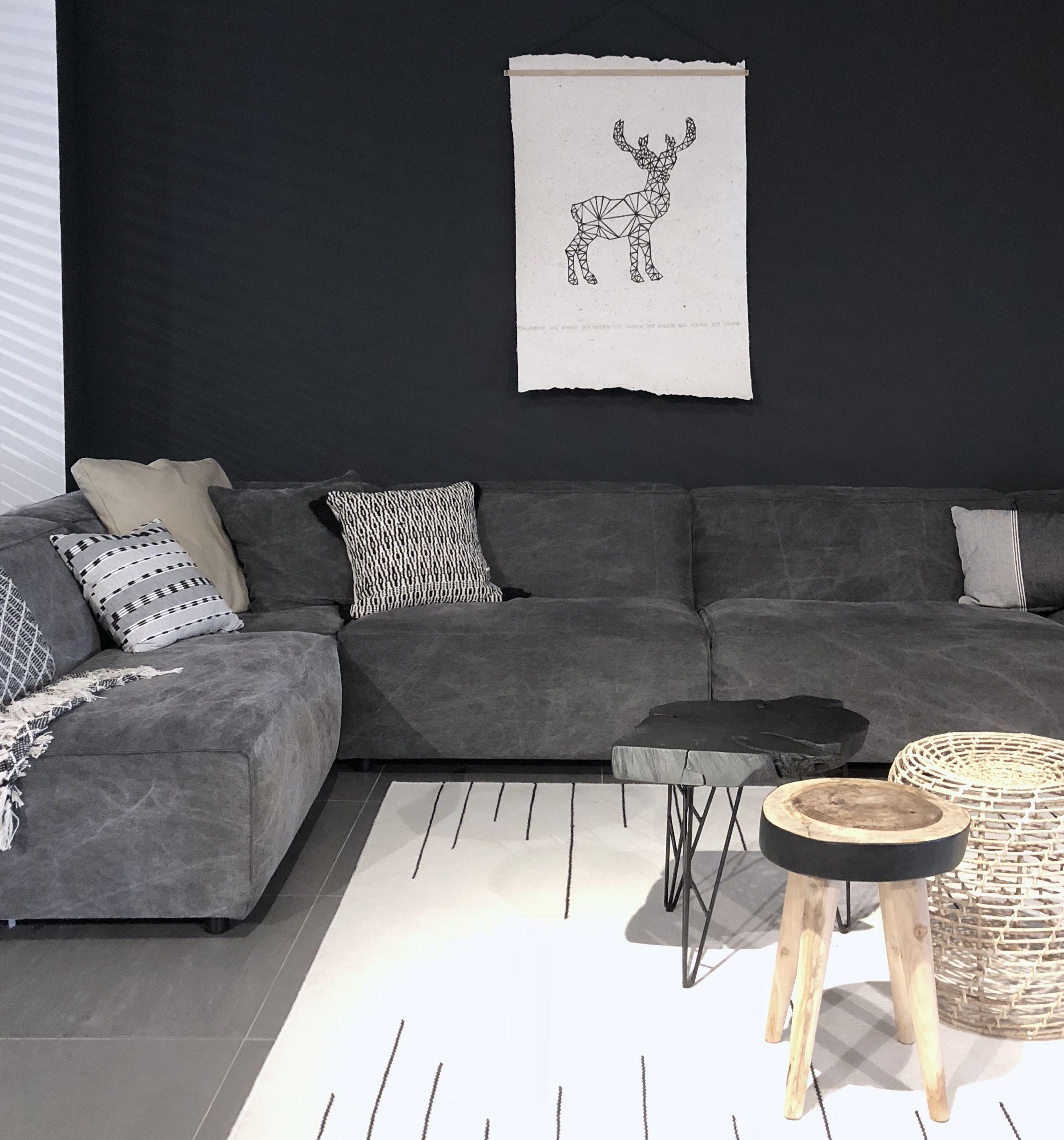 Design Bank Losse Elementen.Loungebank Met Losse Elementen In Verwassen Look Stofje In Heel