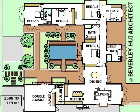 U Shaped House Plans With Pool In The Middle Courtyard