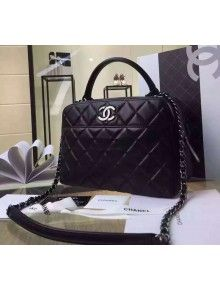 Chanel Black Lambskin Bowling Bag Embellished With A Chanel Metallic Plate  Pre Fall-Winter 2015 16 a034fa493d