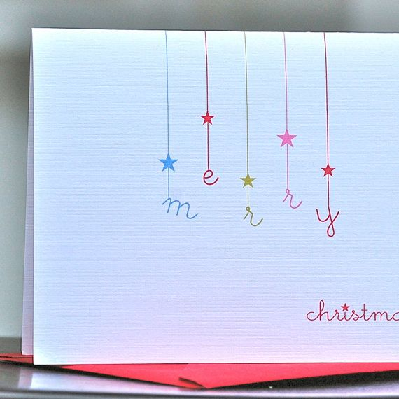 cute Christmas card - star (or snowflake)  letter stamps Kortit