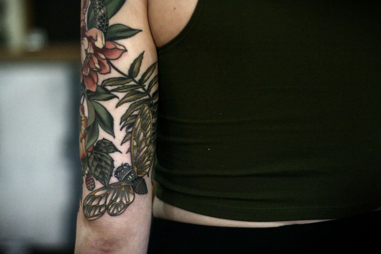 4d1bf1a45b974 Garden half sleeve I've been working on since September on Makenzie. Thank  you!