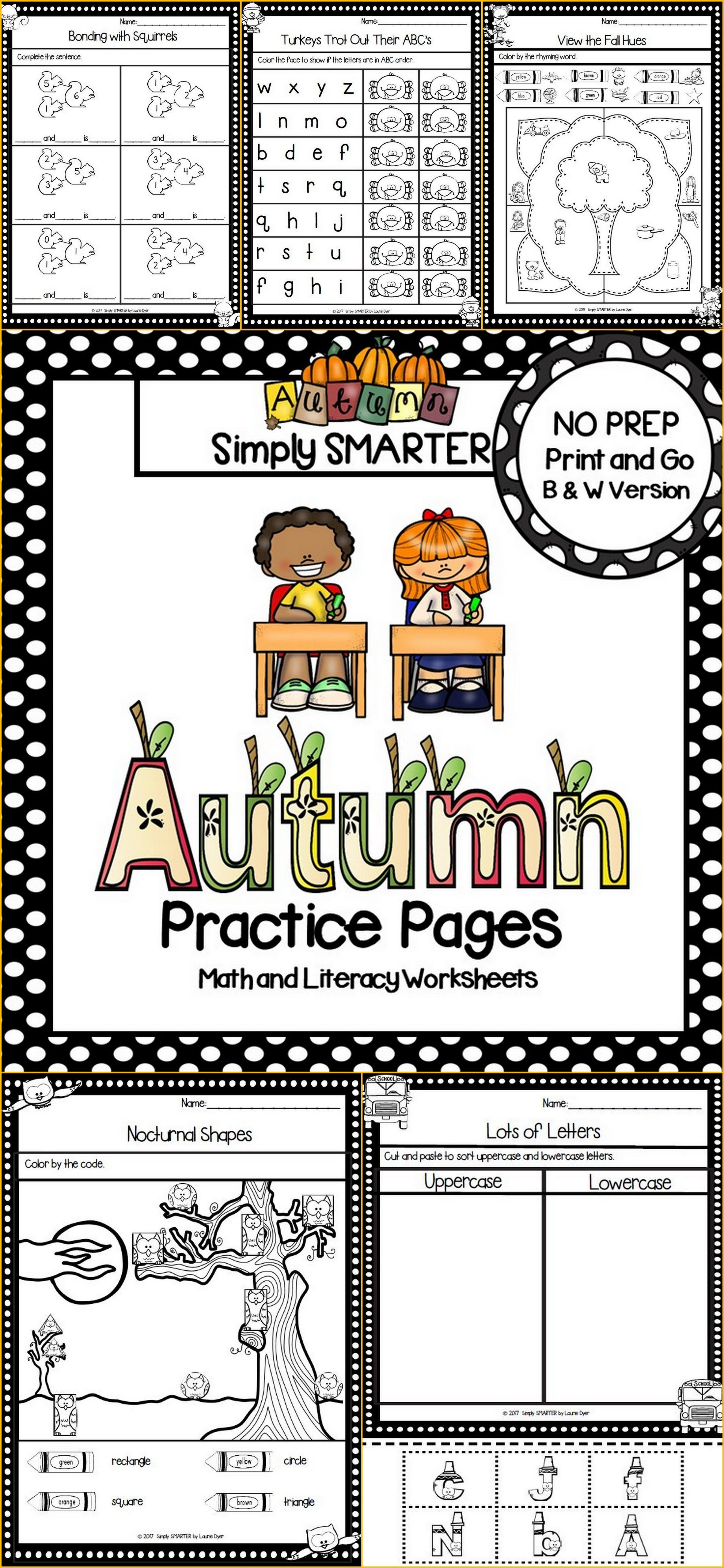 Autumn Practice Pages No Prep Math And Literacy