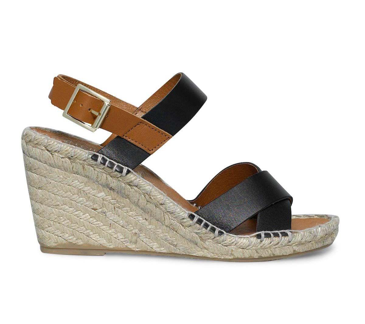 sandales compensées en cuir - Sandales talon - Chaussures femme