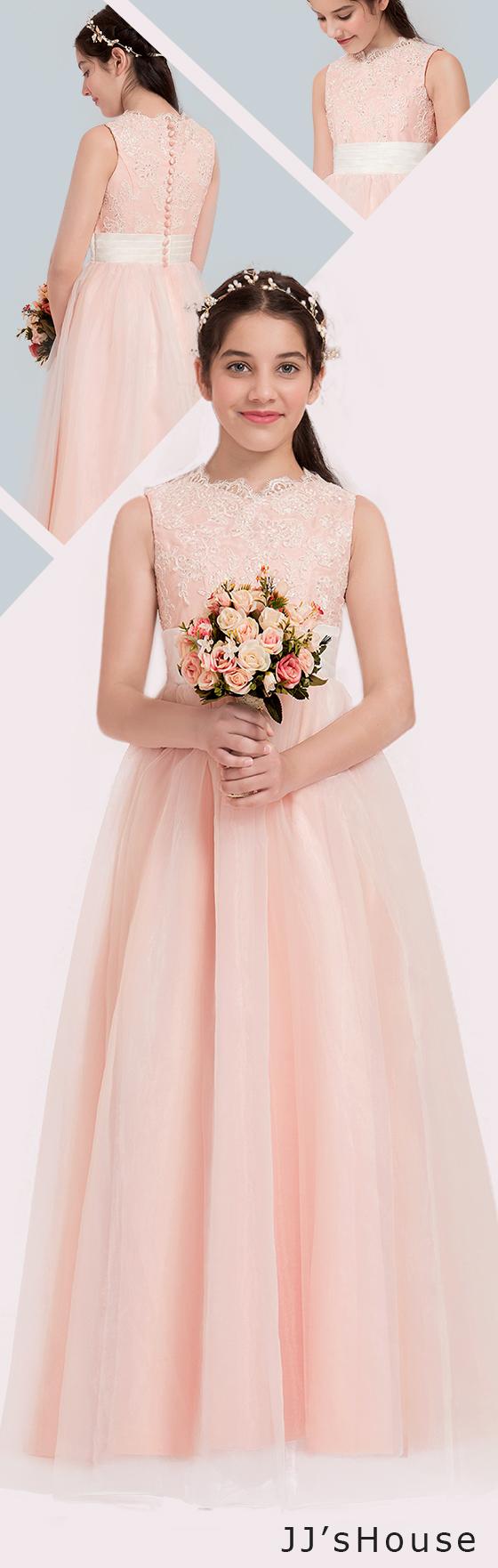 A-Line/Princess V-neck Floor-Length Organza Junior Bridesmaid Dress ...