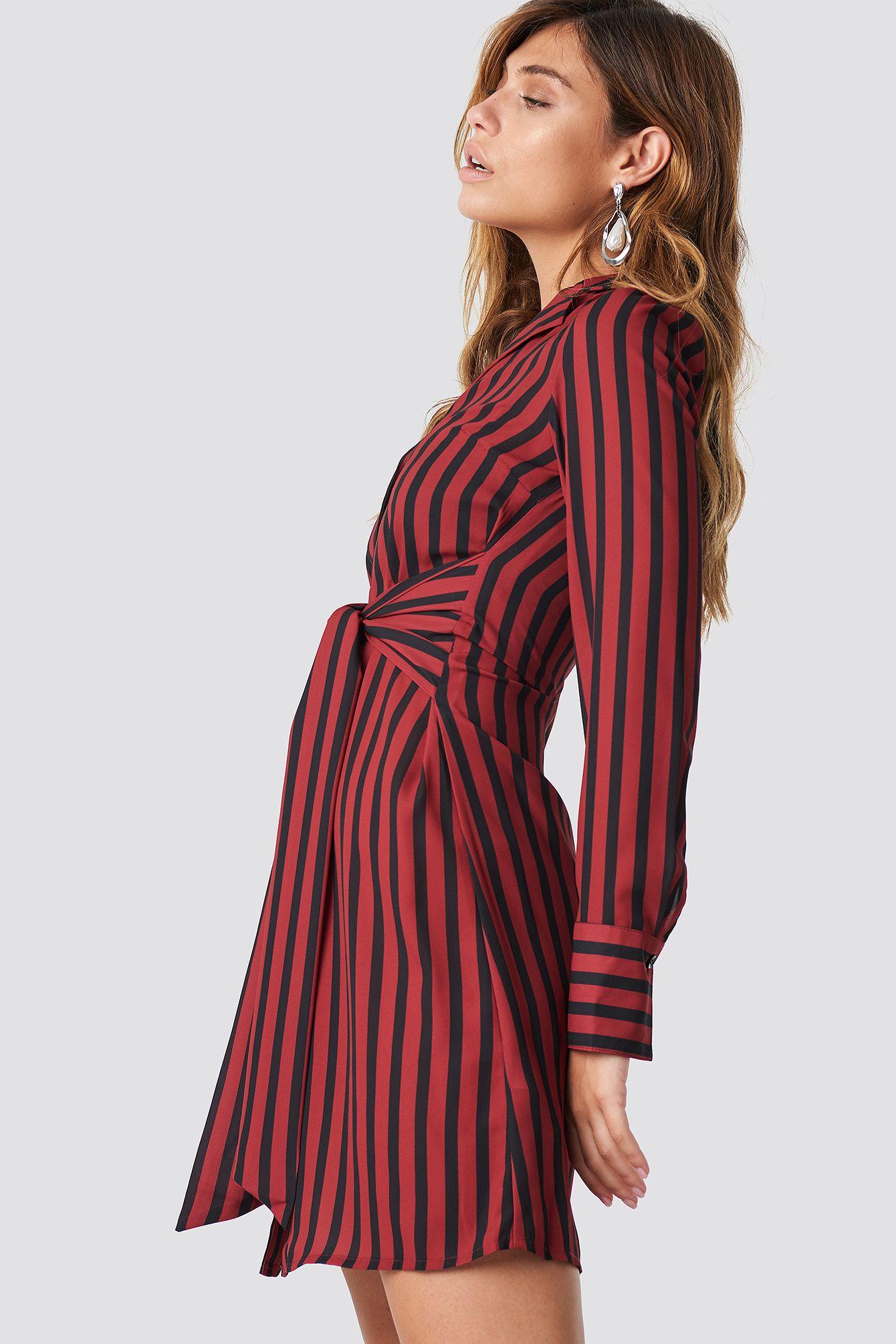 tied waist striped dress in 2020   gestreiftes kleid