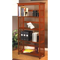 Mission Style Solid Wood Bookcase Walnut Finished Brown