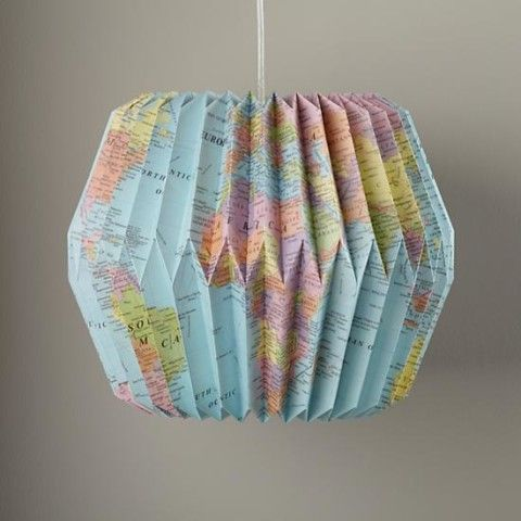 DIY Map Pendants | Looseleaf Pendant Shade (world map) | DIY projects.
