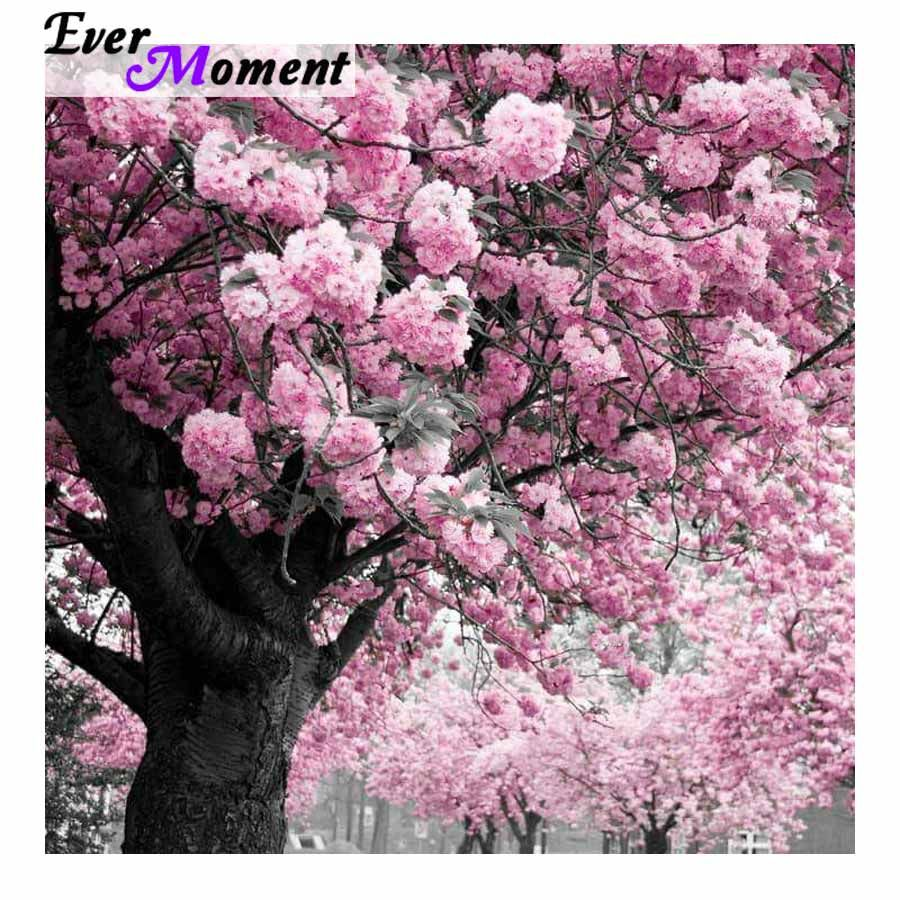 Ever Moment Diamond Painting Full Square Pink Flower Tree Full 5d Diy Square Diamond Embroidery Plant Art Wall Painting Asf Pink Flowers Pink Blossom Plant Art