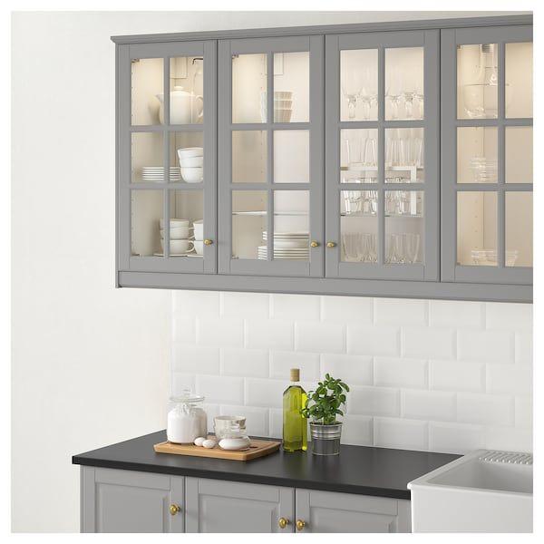 Best Bodbyn Glass Door Gray 18X30 Popular Kitchen Designs 400 x 300