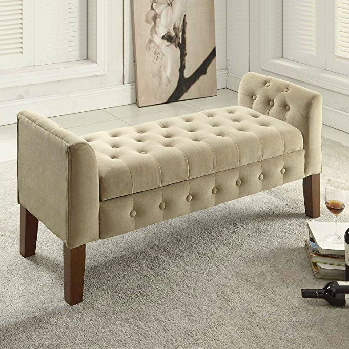 Amazon Com Kinfine Velvet Tufted Storage Bench Settee With Hinged