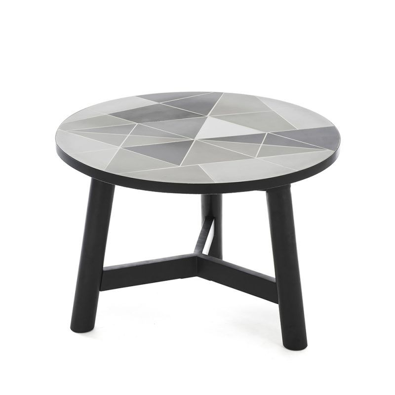 Mosaic Cement Tiles Monochrome FSC TImber Homweares Side Tables, Decor,  Designer Mosaic, Contemporary