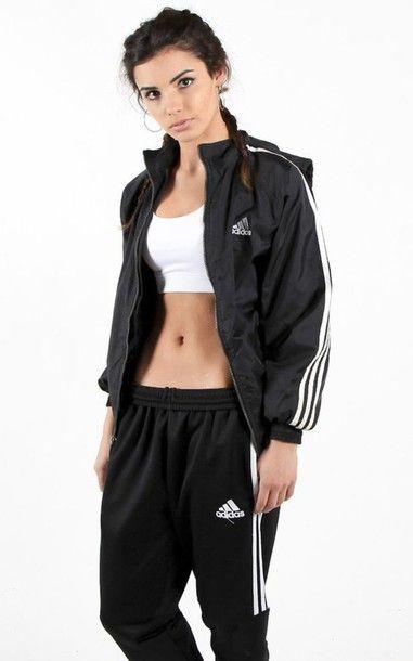 8476f543f383c Wheretoget - White sports bra, black striped Adidas sports jacket and  matching sweatpants