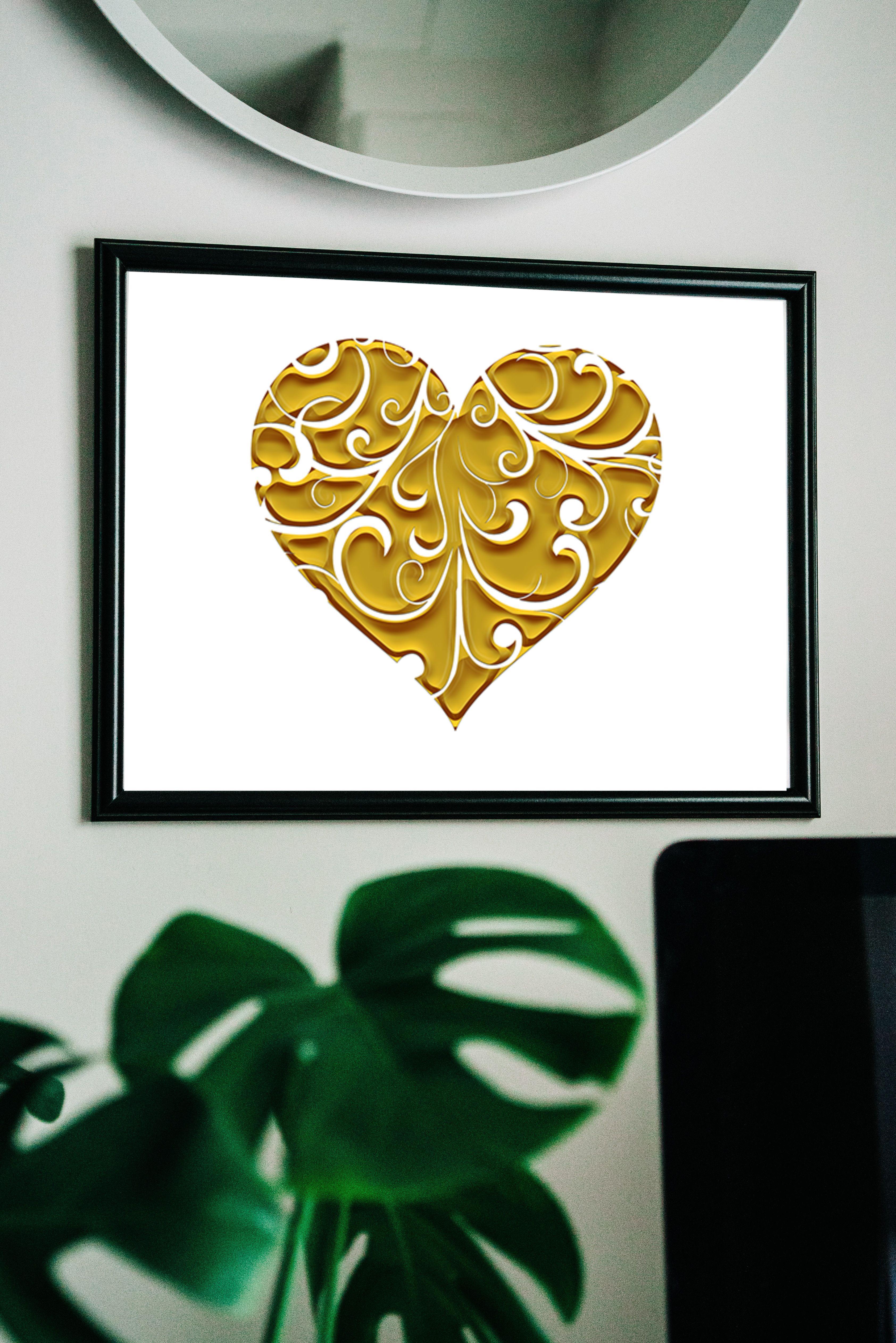 Gold Print Heart Print Artwork Home Decor Downloads Valentines Day Gift Wedding Gift Romantic Art Minimalist Art Ornamental Print Romantic Art Print Minimalist Art