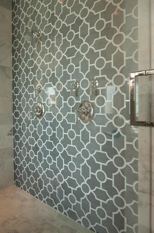 New Ravenna Chatham 1 Stone Waterjet Mosaic Tiles Bardiglio And Calacatta Tia Transitional Bathroom