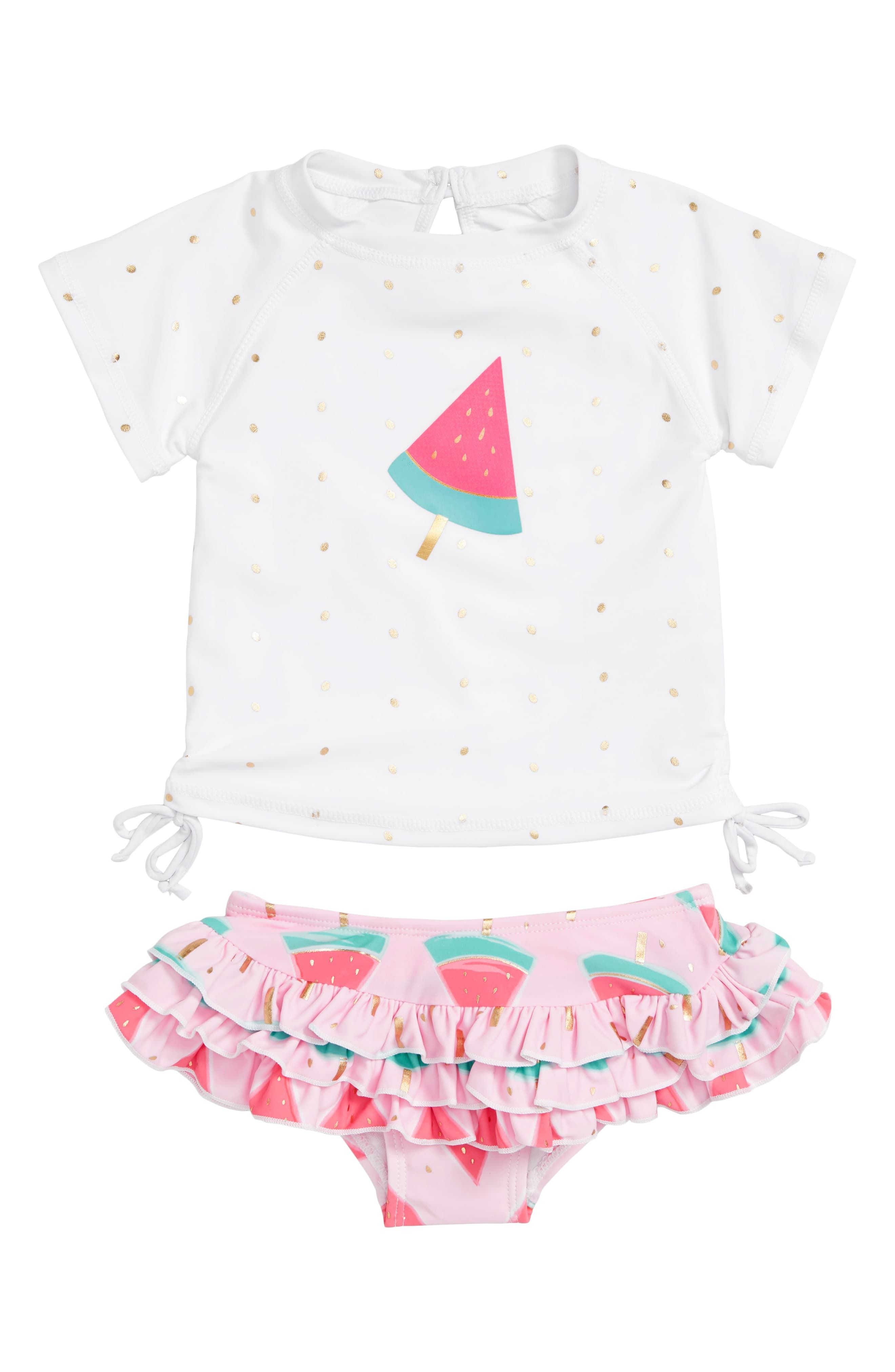 beae21e1b2a9e Infant Girl's Snapper Rock Watermelon Two-Piece Rashguard Swimsuit, Size  3-6M - Pink