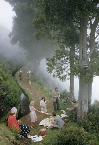 Picnickers eat on a foggy mountain trail that parallels a levada.  Location:Madeira, Portugal.  Photographer:B. ANTHONY STEWART