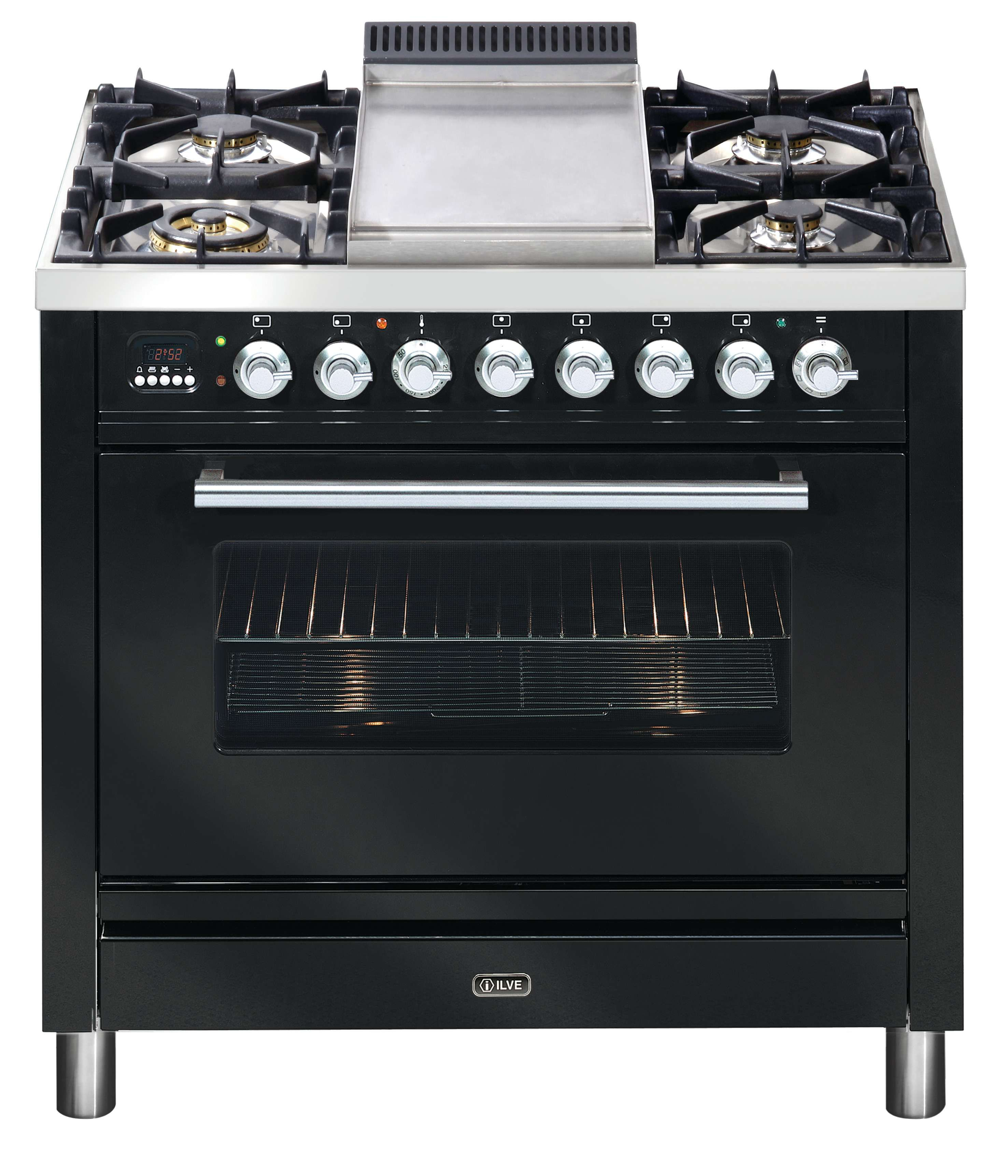 ILVE 90cm Quadra Oven in Gloss Black with Teppanyaki Hot Plate ...