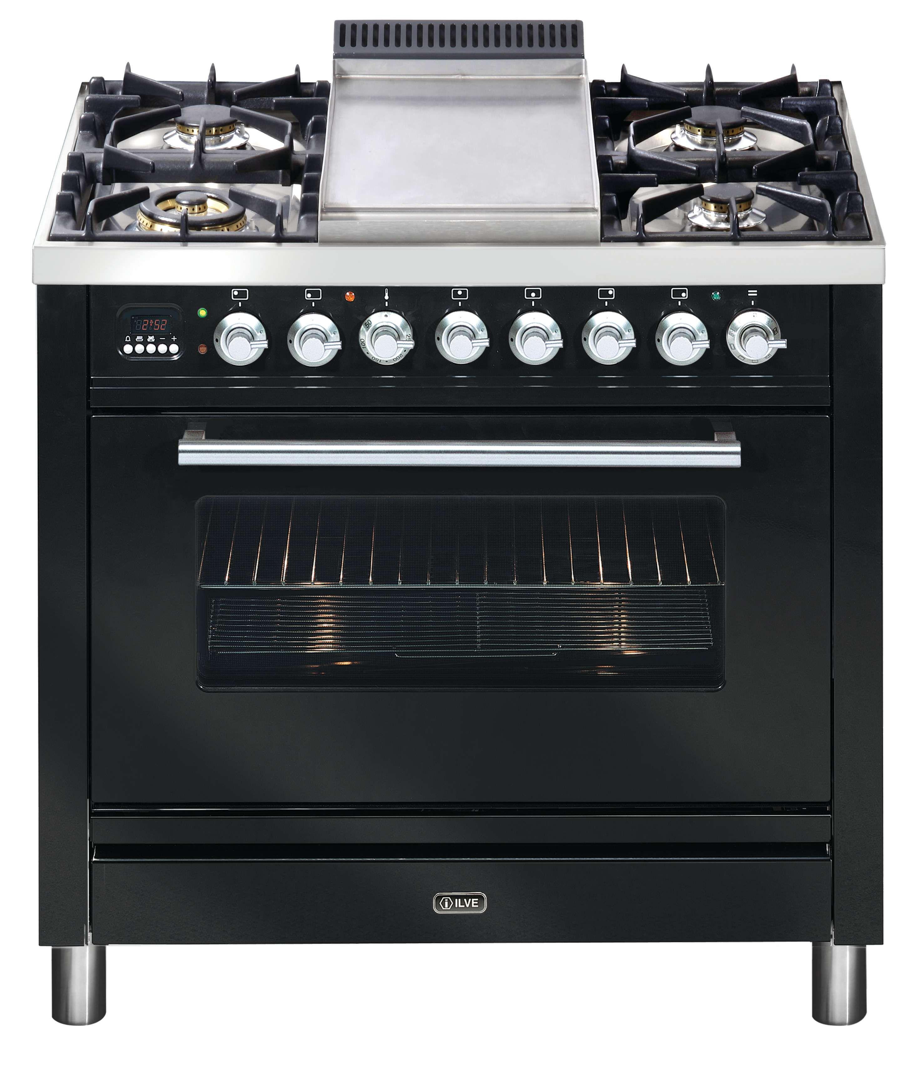ILVE 90cm Quadra Oven in Gloss Black with Teppanyaki Hot Plate ...