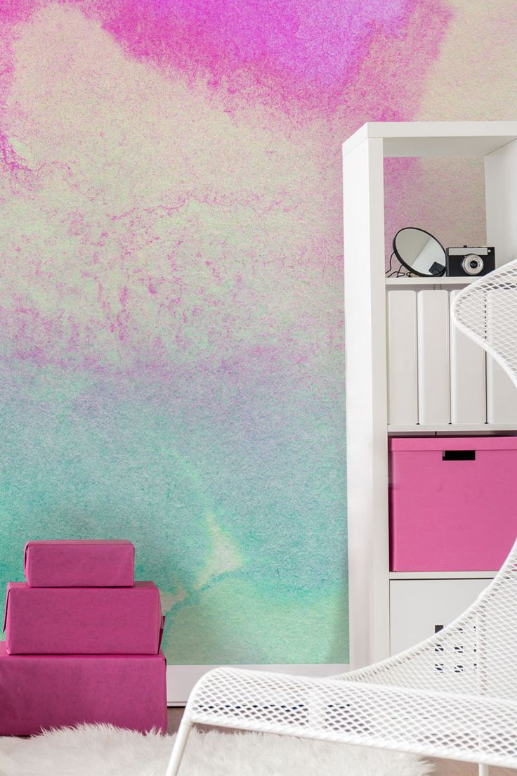Watercolor Wallpaper Pink Yellow And Green Wallsauce Us Pink Feature Wall Pink Bedroom Walls Pink Accent Walls