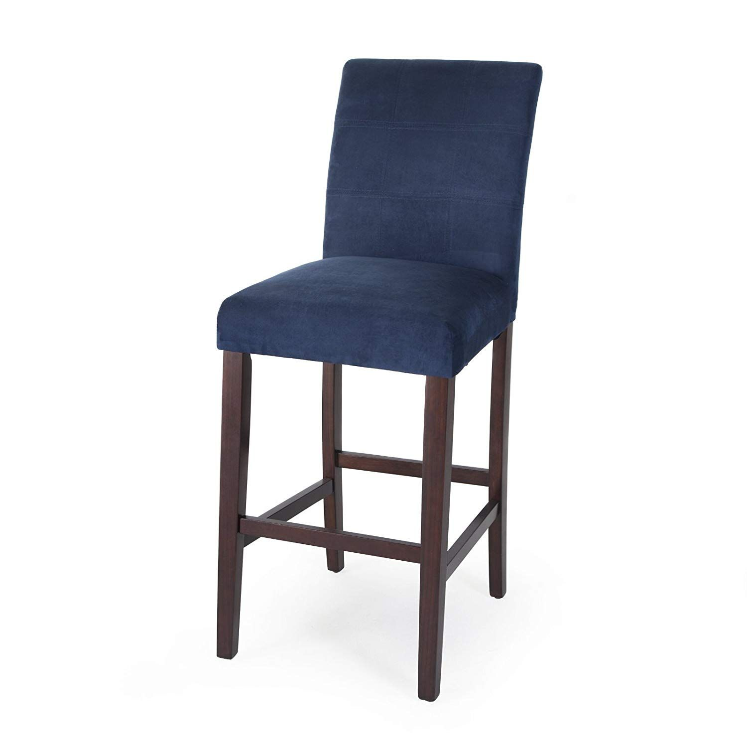 Home Direct Navy Blue Contemporary Classic Set Of 2 Microfiber Upholstered Bar Stools 30 Seat Height With Bac Tall Bar Stools Bar Stools Upholstered Bar Stools