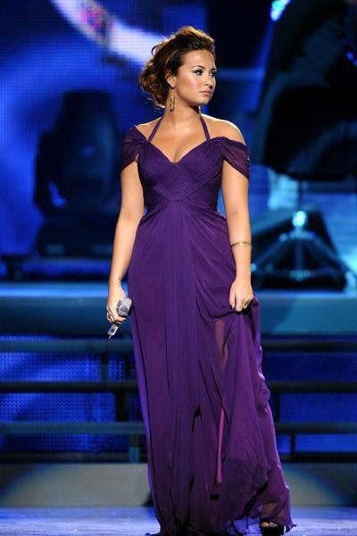 Demi Lovato Celebrity Purple Dress Grammy Awards Off The Shoulder Halter V Neck Celebrity Dresses Demi Lovato Dress Grammy Dresses