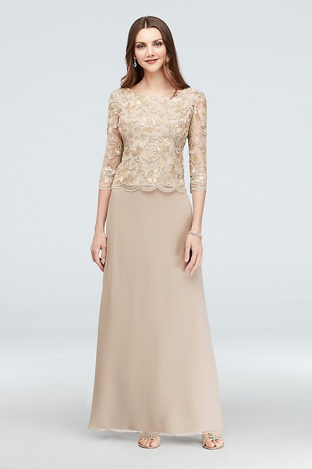 0ead8ef86636 Filigree Lace and Tulle Long Soft Petite Gown   David's Bridal ...